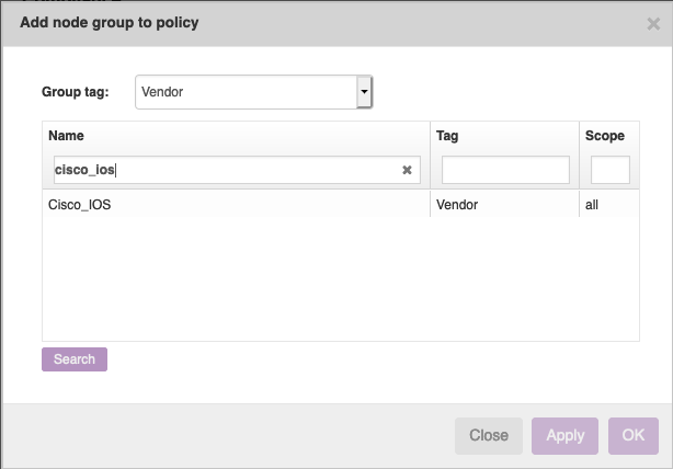 Add node group to policy